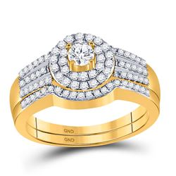 Round Diamond Bridal Wedding Ring Band Set 1/2 Cttw 10kt Yellow Gold - REF-41H9R