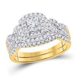 Princess Diamond Bridal Wedding Ring Band Set 1 Cttw 14kt Yellow Gold - REF-107X9A