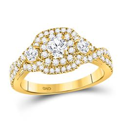 Round Diamond 3-stone Twist Bridal Wedding Engagement Ring 1 Cttw 14kt Yellow Gold - REF-98F5W