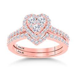 Round Diamond Bridal Wedding Ring Band Set 1 Cttw 14kt Rose Gold - REF-74R5X