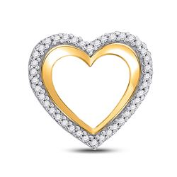 Womens Round Diamond Heart Pendant 1/8 Cttw 10kt Yellow Gold - REF-7Y5N