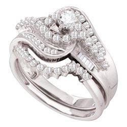 Diamond Round Bridal Wedding Ring Band Set 1 Cttw 10kt White Gold - REF-61W9K