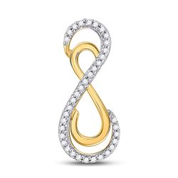 Womens Round Diamond Vertical Double Infinity Pendant 1/10 Cttw 10kt Yellow Gold - REF-8F5W