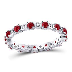 Womens Round Ruby Diamond Eternity Stackable Band Ring Cttw 10kt White Gold - REF-24M5H