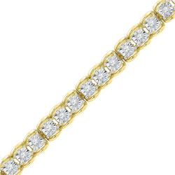 Womens Round Diamond Tennis Bracelet 1/2 Cttw 10kt Yellow Gold - REF-71R9X