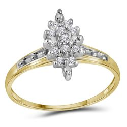 Womens Round Diamond Marquise-shape Cluster Ring 1/10 Cttw 10kt Yellow Gold - REF-9R5X