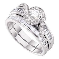 Round Diamond Bridal Wedding Ring Band Set 1-1/4 Cttw 14kt Yellow Gold - REF-126W9K