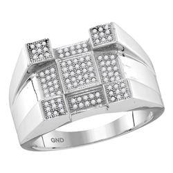 Mens Round Diamond Square Corner Cluster Ring 1/3 Cttw 10kt White Gold - REF-34A5M