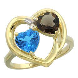 2.61 CTW Diamond, Swiss Blue Topaz & Quartz Ring 14K Yellow Gold - REF-33W9F