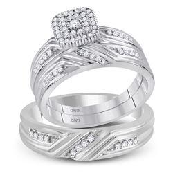 His Hers Round Diamond Square Matching Wedding Set 1/3 Cttw 10kt White Gold - REF-43M5H