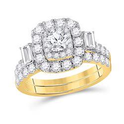 Round Diamond Bridal Wedding Ring Band Set 2 Cttw 14kt Yellow Gold - REF-186R5X