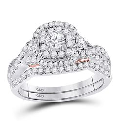 Round Diamond Bridal Wedding Ring Band Set 1 Cttw 14kt Two-tone Gold - REF-93R9X