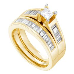 Princess Diamond Bridal Wedding Ring Band Set 1-3/8 Cttw 14kt Yellow Gold - REF-178Y5N