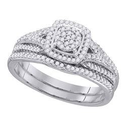 Round Diamond Bridal Wedding Ring Band Set 1/3 Cttw 10kt White Gold - REF-27Y9N