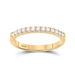 Womens Round Diamond Wedding Single Row Band 1/4 Cttw 14kt Yellow Gold - REF-27N9F
