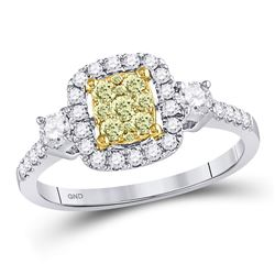 Womens Round Yellow Diamond Square Frame Cluster Ring 5/8 Cttw 14kt White Gold - REF-51X9A