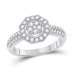 Womens Round Diamond Fashion Flower Cluster Ring 1/2 Cttw 14kt White Gold - REF-42H5R