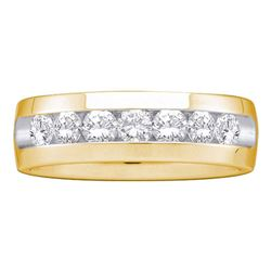 Mens Round Diamond Channel-set Wedding Anniversary Band 1 Cttw 14k Yellow Gold - REF-131H5R