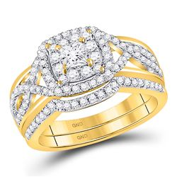 Princess Diamond Bridal Wedding Ring Band Set 7/8 Cttw 14kt Yellow Gold - REF-90M5H