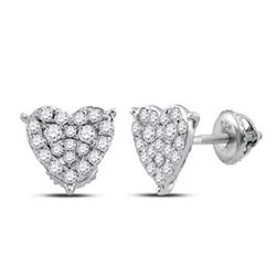 Womens Round Diamond Heart Earrings 1/2 Cttw 10kt White Gold - REF-25R9X