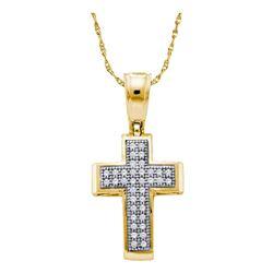 Womens Round Diamond Cross Religious Pendant 1/10 Cttw 10kt Yellow Gold - REF-8F9W