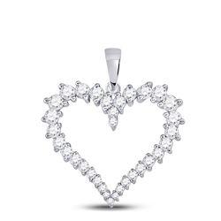 Womens Round Diamond Outline Heart Pendant 3/4 Cttw 14kt White Gold - REF-41Y5N