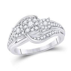 Round Diamond Cluster Bridal Wedding Engagement Ring 1/2 Cttw 10kt White Gold - REF-43Y9N