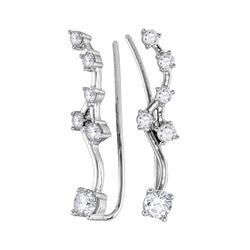 Womens Round Diamond Climber Earrings 3/4 Cttw 10kt White Gold - REF-43A5M