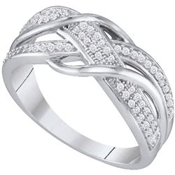 Womens Round Diamond Crossover Band Ring 1/5 Cttw 10kt White Gold - REF-18N5F