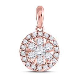 Womens Round Diamond Flower Cluster Pendant 1/2 Cttw 14kt Rose Gold - REF-36X9A