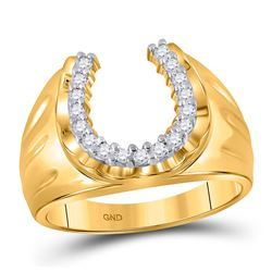 Mens Round Diamond Lucky Horseshoe Ring 1/4 Cttw 14kt Yellow Gold - REF-31Y5N