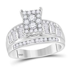 Round Diamond Rectangle Cluster Bridal Wedding Engagement Ring 7/8 Cttw 10kt White Gold - REF-53F5W