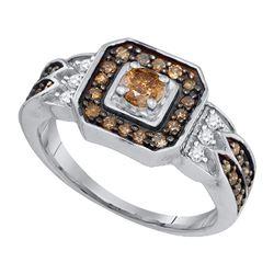 Womens Round Brown Diamond Fashion Ring 5/8 Cttw 10kt White Gold - REF-27N9F