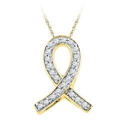 Womens Diamond Ribbon Awareness Symbol Pendant 1/10 Cttw 10k Yellow Gold - REF-6M9H