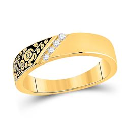 Mens Round Diamond Wedding Rose Flower Band Ring 1/20 Cttw 14kt Yellow Gold - REF-25H9R
