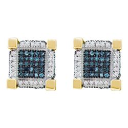 Mens Round Blue Color Enhanced Diamond 3D Cube Square Earrings 3/4 Cttw 10kt Yellow Gold - REF-36Y9N