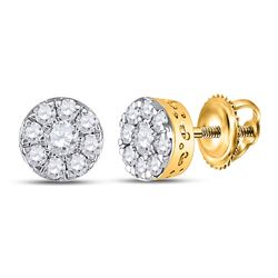 Womens Round Diamond Cluster Earrings 1/2 Cttw 14kt Yellow Gold - REF-30F9W