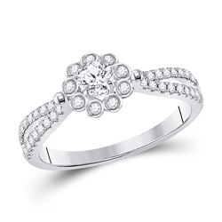 Round Diamond Solitaire Bridal Wedding Engagement Ring 1/2 Cttw 14kt White Gold - REF-52X5A