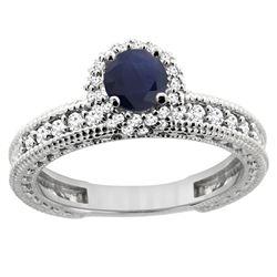 0.95 CTW Blue Sapphire & Diamond Ring 14K White Gold - REF-76F5N