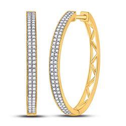 Womens Round Diamond Hoop Earrings 1/2 Cttw 10kt Yellow Gold - REF-32Y5N