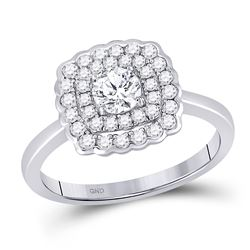 Round Diamond Solitaire Bridal Wedding Engagement Ring 3/4 Cttw 14kt White Gold - REF-106F9W