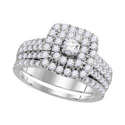 Round Diamond Halo Bridal Wedding Ring Band Set 1-3/4 Cttw 14kt White Gold - REF-123R5X