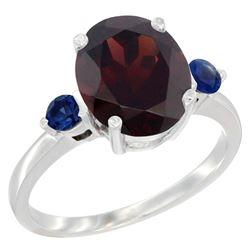 2.64 CTW Garnet & Blue Sapphire Ring 14K White Gold - REF-34H8M