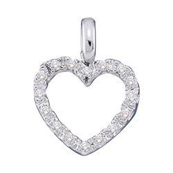 Womens Round Diamond Heart Pendant 1/10 Cttw 14kt White Gold - REF-7F9W