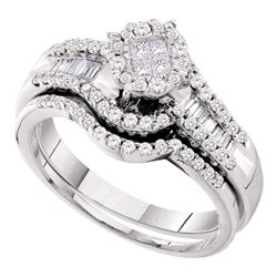 Princess Diamond Bridal Wedding Ring Band Set 5/8 Cttw 14kt White Gold - REF-65K5Y