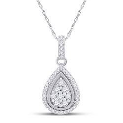 Womens Round Diamond Teardrop Pendant 1/4 Cttw 10kt White Gold - REF-16R9X