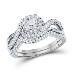 Round Diamond Bridal Wedding Ring Band Set 5/8 Cttw 10kt White Gold - REF-55M9H