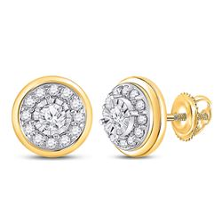 Womens Round Diamond Halo Stud Earrings 1/4 Cttw 10kt Yellow Gold - REF-16A9M