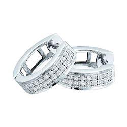 Womens Round Diamond Huggie Earrings 1/6 Cttw 10kt White Gold - REF-16H9R
