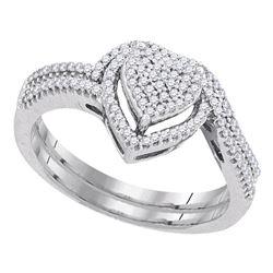 Round Diamond Heart Bridal Wedding Ring Band Set 1/3 Cttw 10kt White Gold - REF-27Y5N